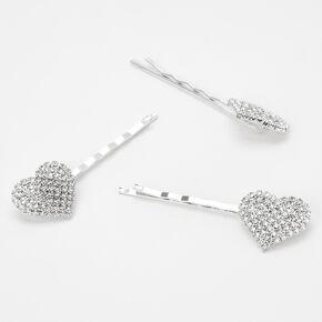 Silver Rhinestone Heart Hair Pins - 3 Pack,