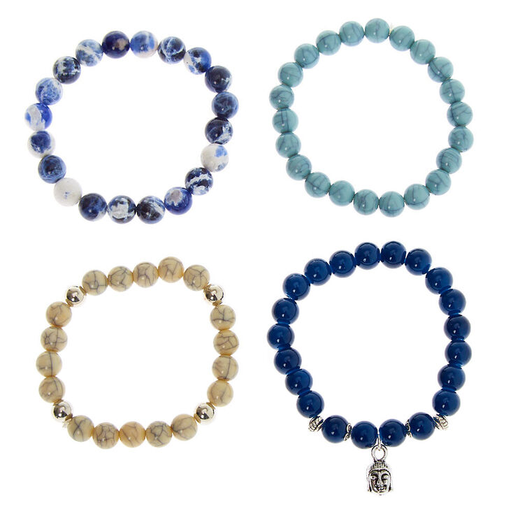 Marble Beaded Stretch Bracelets - Blue, 4 Pack,