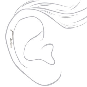 Boucle d'oreille pour piercing de cartilage avec breloque croix en strass 16g couleurs argentée et titanée,