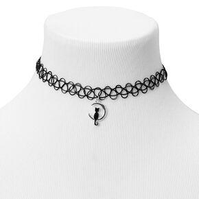 Black Cat Mood Tattoo Choker Necklace - Black,