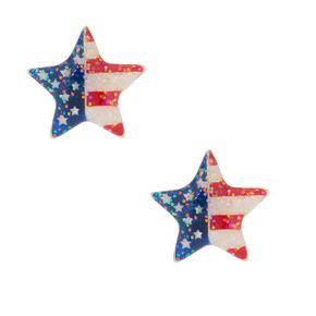 American Flag Star Stud Earrings,