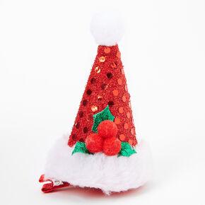 Barrette bonnet de Père Noël en sequins,