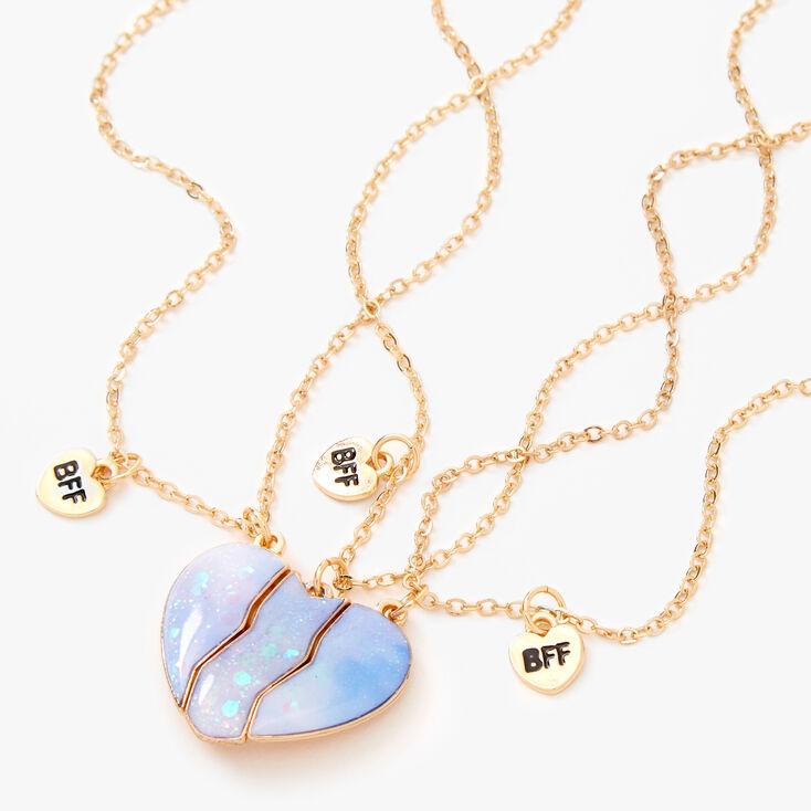 Best Friends Iridescent Glitter Heart Pendant Necklaces - 3 Pack, Purple,