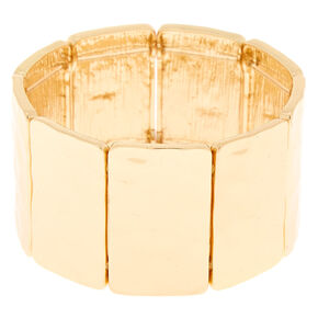 Gold Hammered Metal Stretch Bracelet,