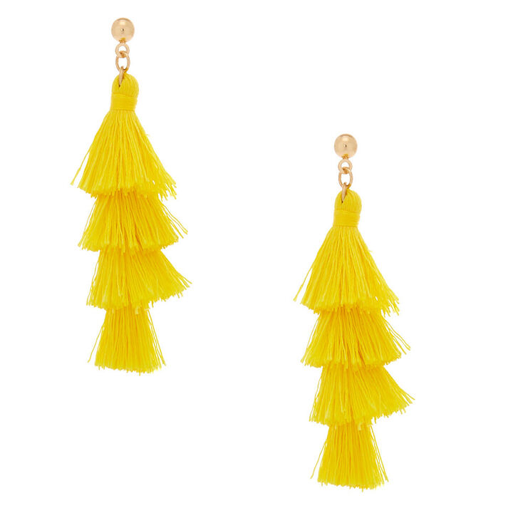 Gold 2 5 Tiered Tel Drop Earrings Yellow
