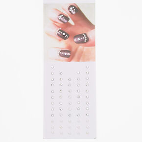 Silver Stick on Nail Gems,