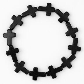 Bracelet élastique avec croix - Noir,