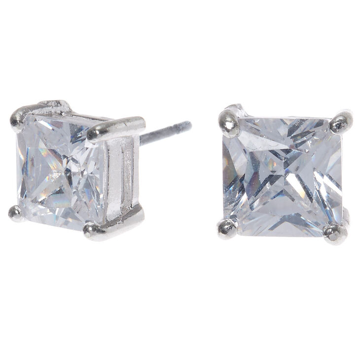 Silver Cubic Zirconia 7mm Square Stud Earrings