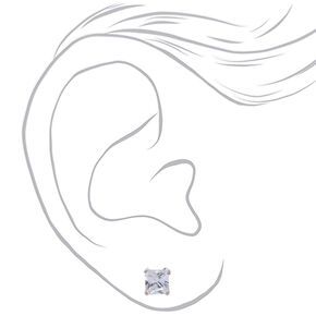 Silver Cubic Zirconia Square Stud Earrings - 6MM,