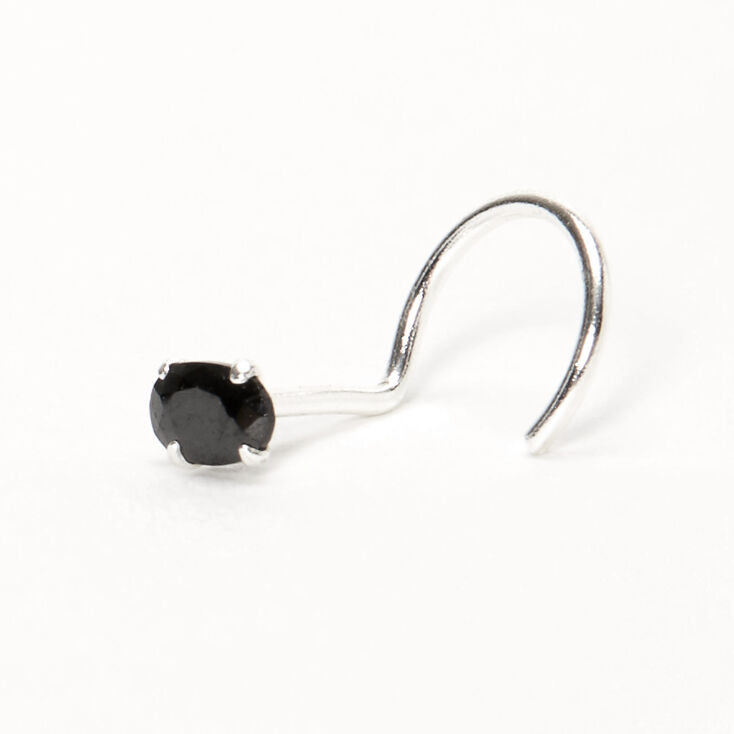 Silver 22G Oval Cubic Zirconia Stone Nose Stud - Black,