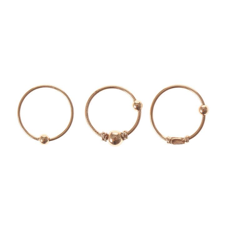 Gold Beaded Cartilage Hoop Earrings - 3 Pack   Claire's US