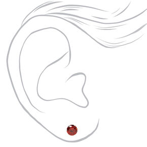 Silver Cubic Zirconia Round Stud Earrings - Ruby, 5MM,
