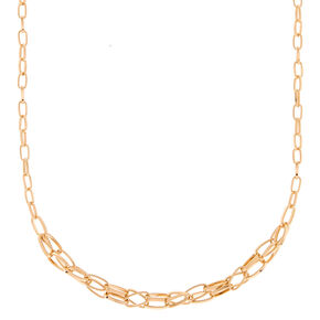 Gold Double Link Statement Necklace,