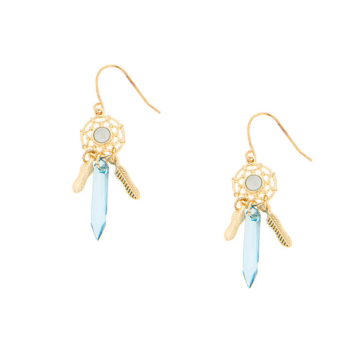 Gold Dreamcatcher Drop Earrings Blue
