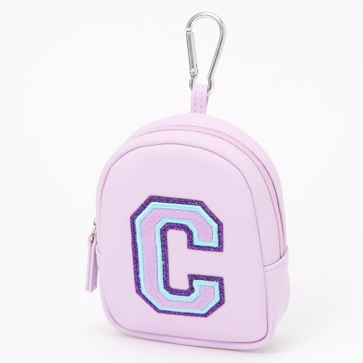 Purple Varsity Initial Mini Backpack Keychain - C,