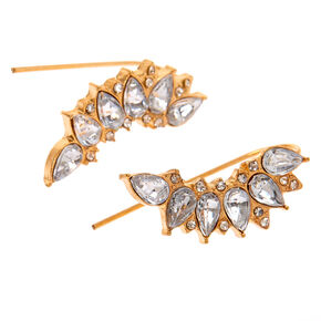 "Gold 1"" Teardrop Crystal Ear Crawler Earrings,"