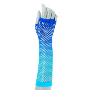 Blue Ombre Fishnet Gloves,