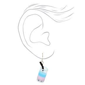 """Silver 1"""" Bubble Tea Drop Earrings,"""