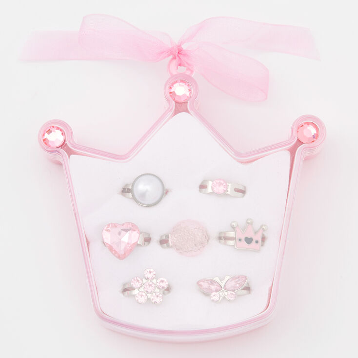 Claire's Club Pretty Pincess Rings - Pink, 7 Pack,