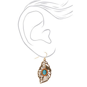 "Gold 1.5"" Pastel Beaded Feather Drop Earrings,"