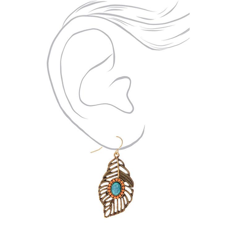"Gold 1.5"" Pastel Beaded Feather Drop Earrings,"