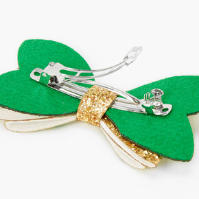 Glitzy St. Patrick's Day Hair Bow Clip - Gold,