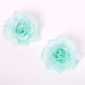 Mini Rose Hair Clips - Mint, 2 Pack,