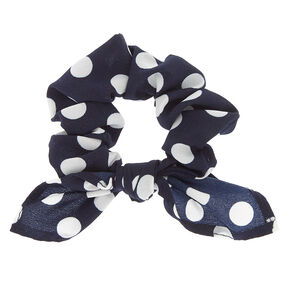 Small Polka Dot Knotted Bow Hair Scrunchie - Navy,