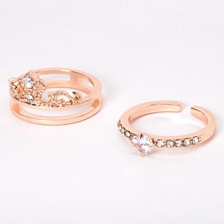 Rose Gold Cubic Zirconia Tiara 2-in-1 Ring,