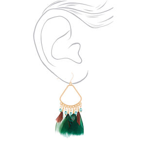 "3"" Feather Chandelier Drop Earrings - Green,"