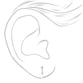 Sterling Silver Cubic Zirconia Round Stud & Hoop Earrings - 3 Pack,