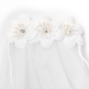 Claire's Club Pearled Floral Veil - White,
