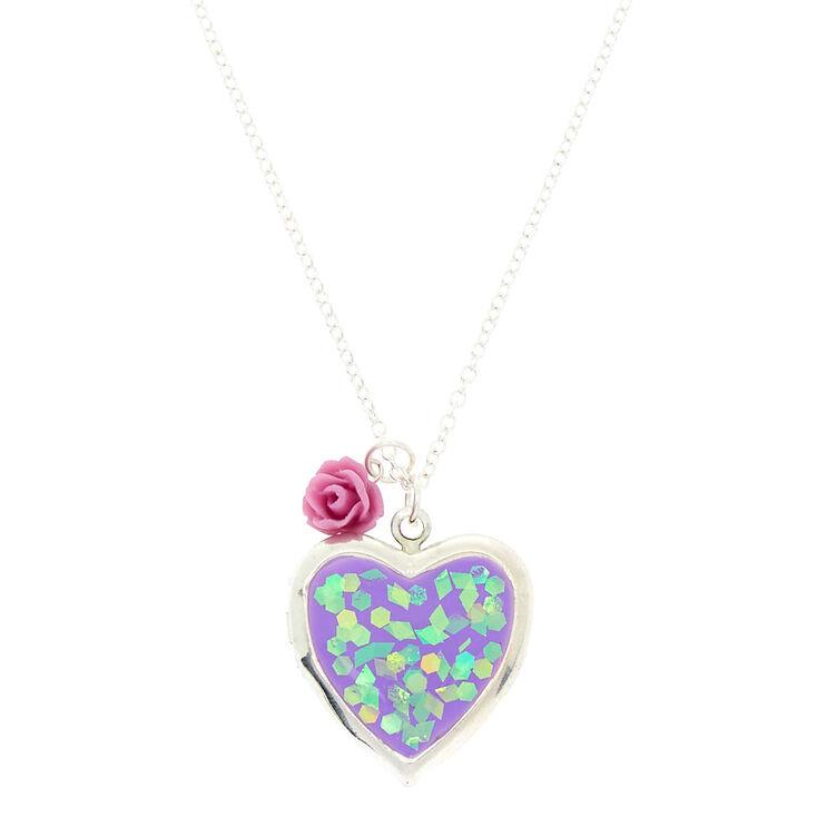 Holographic heart locket pendant necklace purple claires holographic heart locket pendant necklace purple aloadofball Images