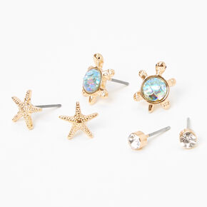 Gold Starfish Turtle Stud Earrings - 3 Pack,