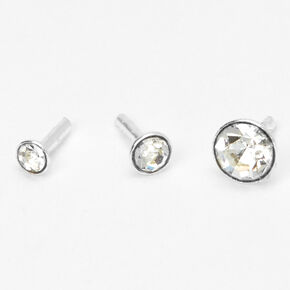 Silver 16G Graduated Bezel Helix Stud Earrings - 3 Pack,