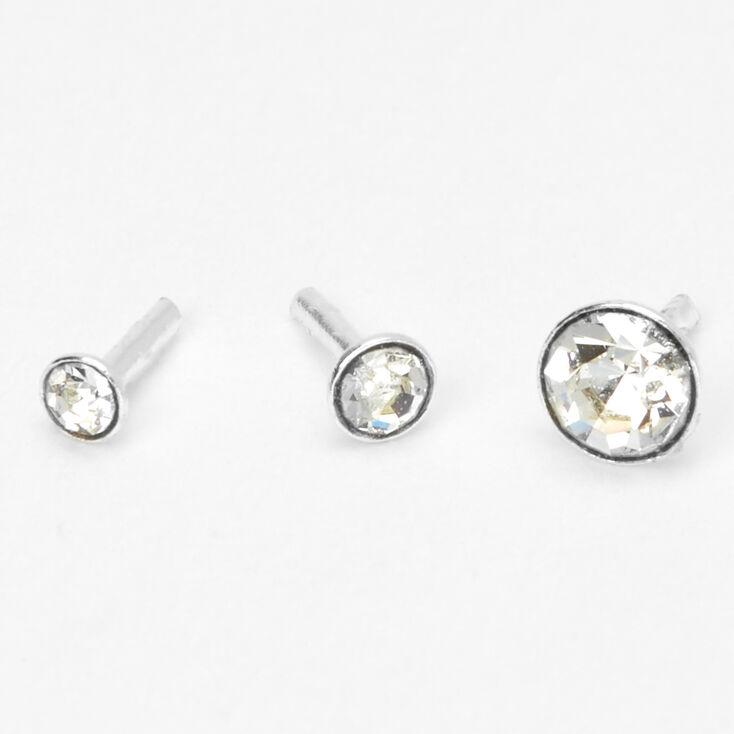 Silver 16G Graduated Bezel Helix Stud Earrings - 3 Pack,