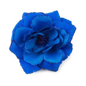 Glitter Edge Flower Hair Clip - Blue,