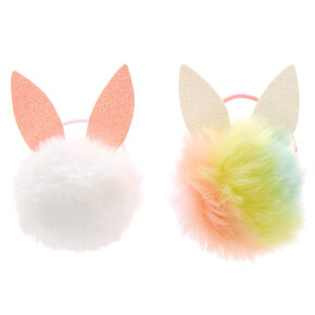 Bunny Ear Pom Pom Hair Ties - 2 Pack,