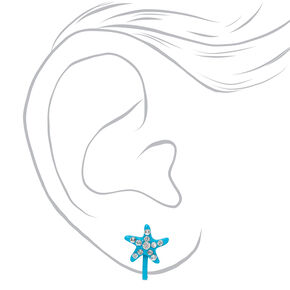 Faux Rhinestone Starfish Clip-On Stud Earrings - Blue,