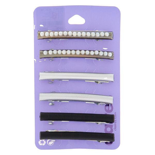 Claire's - hematite pearl metallic hair barrettes - 1