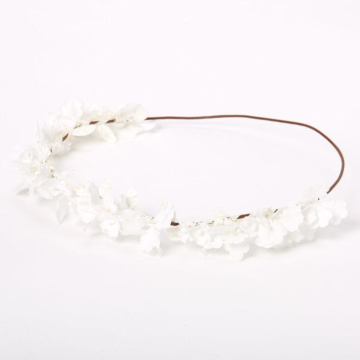 Mini Flower & Leaf Headwrap - White,