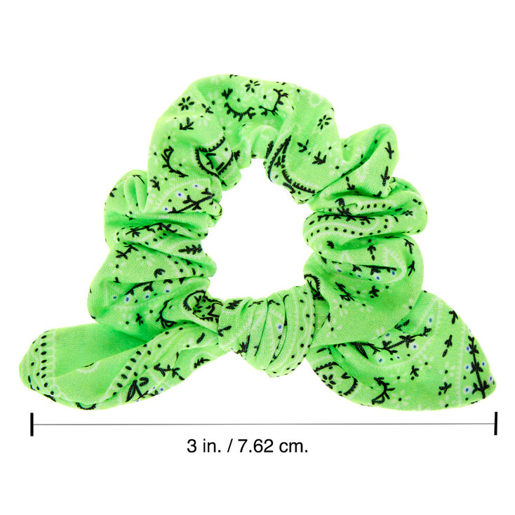 Small Bandana Knotted Bow Hair Scrunchie - Neon Green,