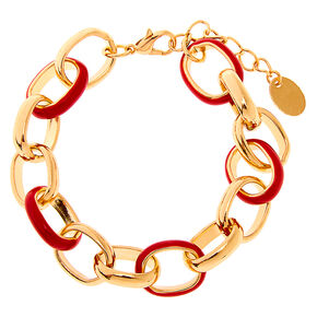 Gold Enamel Chain Link Bracelet - Red,