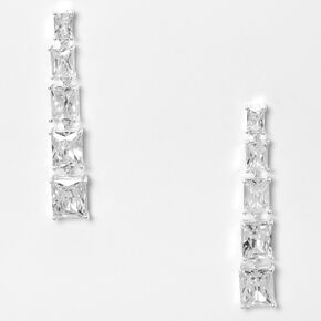 "Silver 2"" Cubic Zirconia Emerald Cut Graduated Drop Earrings,"