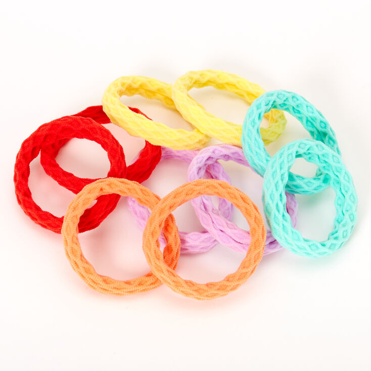 Claire's Club Pastel Rainbow Honeycomb Hair Ties - 10 Pack,