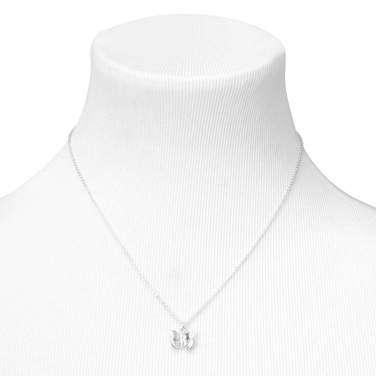 Silver 3D Butterfly Pendant Necklace,