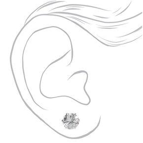 Clous d'oreilles ronds 10mm en zircon cubique d'imitation couleur argentée,