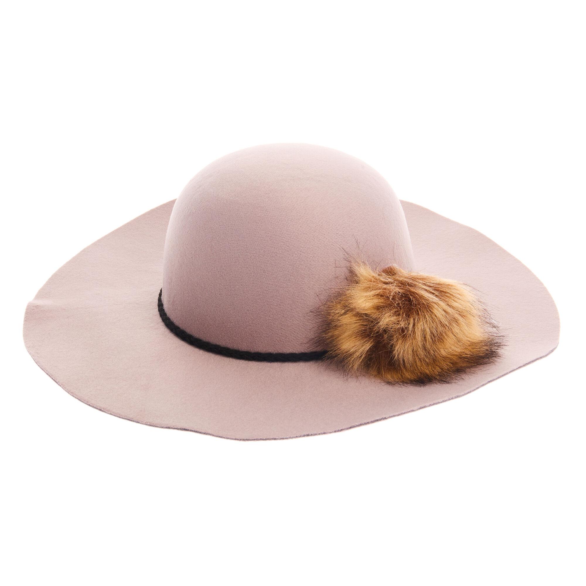 Grey Pom Pom Floppy Felt Hat  836f2cad5413