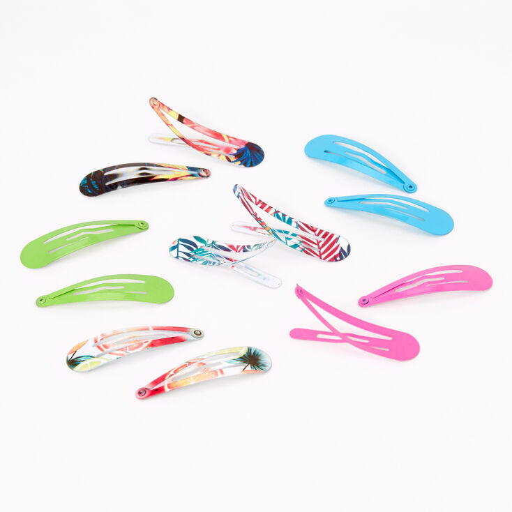 Tropical Print Snap Hair Clips - 12 Pack,