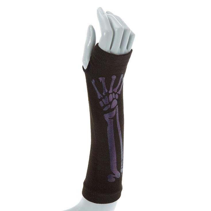 814fcda4de0 Skeleton Long Fingerless Gloves - Black